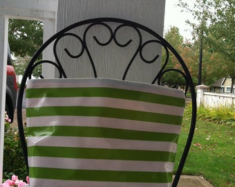 Beth's Large Green Stripes Oilcloth Cosmetic Bag