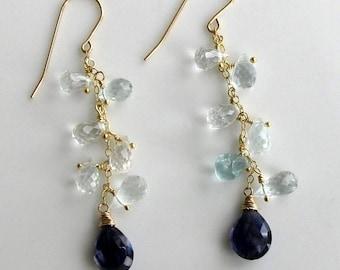 Aquamarine Iolite Cascade Earrings in Gold