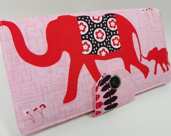 Handmade Long Wallet  BiFold Clutch - Vegan Wallet - Pink Elephant
