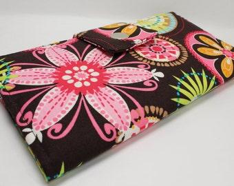 Carnival Bloom -  Handmade Long Wallet  BiFold Clutch- Vegan Wallet or half size unisex wallet