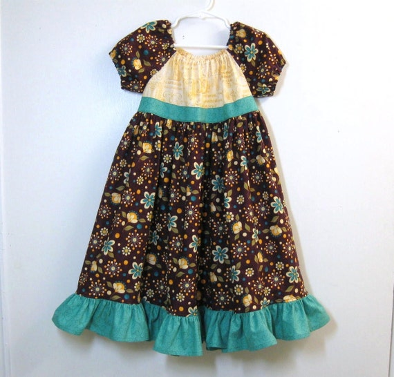 Girls long peasant dress jade green and yellow on deep purple size 3/3T Ready to Ship
