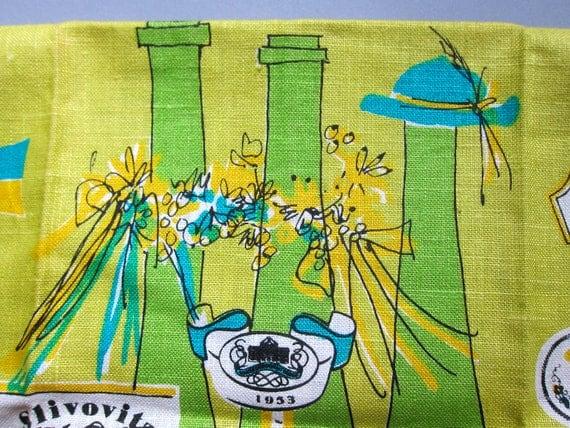 Vera Chartreuse Hatted Liquor Bottle with Labels, Vtg Tea Dish Kitchen Towel, MCM, Unused
