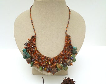 Forest in fall X necklace, peyote stitch wearable art  in brown tones with turquoise featured in the Belle armoire Jewelry  2013