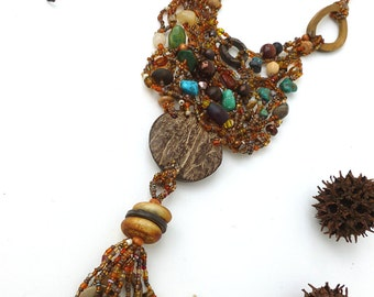 Forest in fall III necklace, free form peyote stitch wearable art necklace featured in the Belle Armoire Jewelry summer issue 2013, bohemian