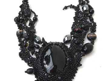 Black Forest IV, free form peyote stitch necklace with black onyx cabochon, wearable art, statement necklace, beadwork