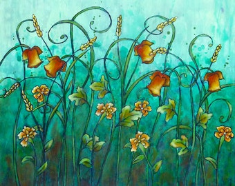 Floral fantasy V original acrylic painting, cradled wood panel, home decor, field flowers, ready to hang, green, collectible art