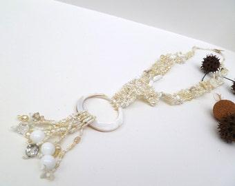 Wedding on the beach VIII necklace, free form peyote stitch lariat necklace, bohemian, Coachella, statement, tassel, unique beadwork, white