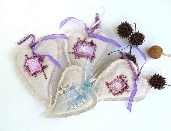 SALE Lavender heart sachet ornaments, set of four