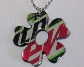Mountain Dew Flower Necklace Handmade from Recycled Aluminum Soda Pop Can