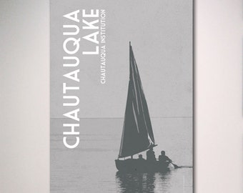 Chautauqua Institution Poster, Chautauqua Lake Poster, Sailboat Poster Vacation Art Print Poster, Travel Art, 11x17 Print