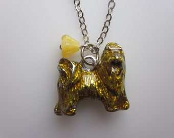 Spaniel Puppy Pet Lovers Charm Necklace with Yellowbell Flower