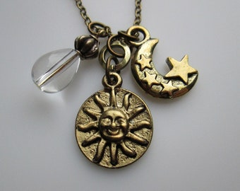 Night and Day. Sun Moon and Stars Necklace