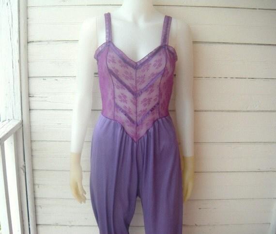 RESERVED LISTING for LetsBuildafire - Vintage 1970s Purple Lace Nylon Jumpsuit / Harem or Genie Costume