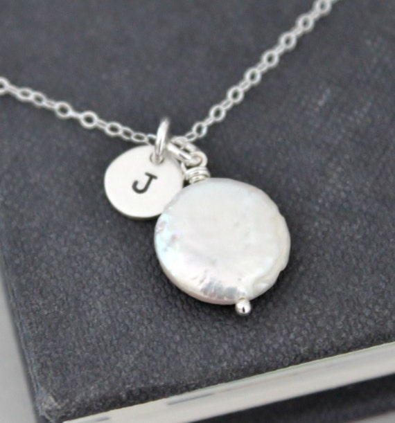 Coin Pearl Initial Necklace Coin Pearl Necklace, Hand Stamped Necklace Personalized Jewelry, Bridesmaids Gifts Bridal Jewelry