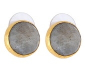 Grey Labradorite Stud Earrings