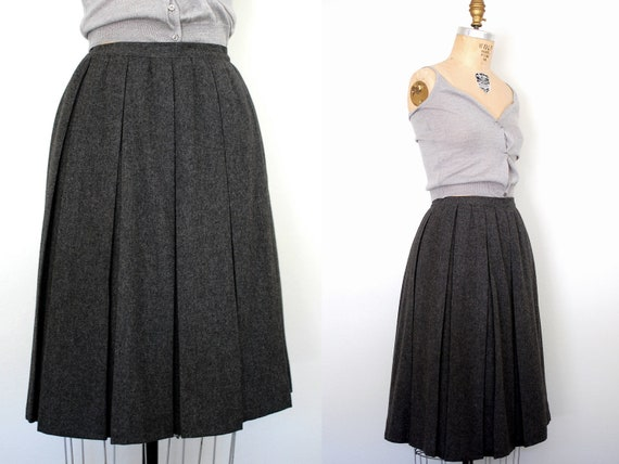 50s skirt 50s wool skirt 50s pleated skirt grey by