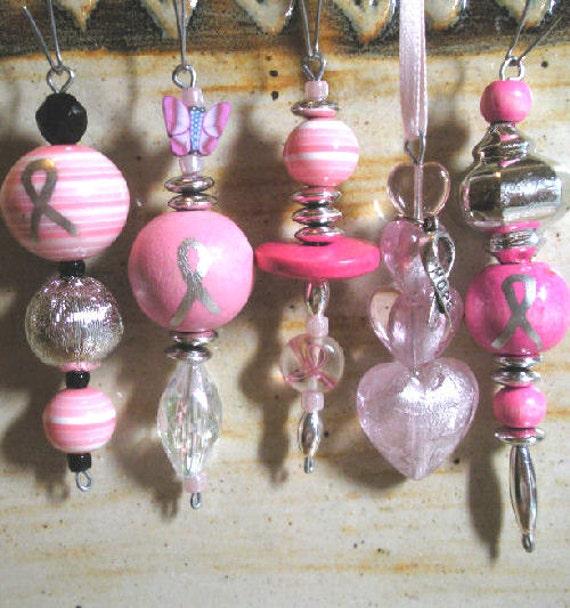 Ornaments, set of 5, pink awareness, BCA, design 2