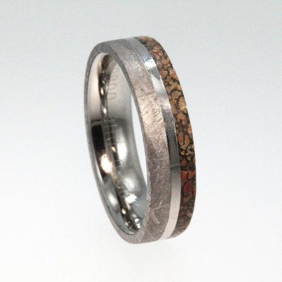 meteorite ring dinosaur bone ring titanium by jewelrybyjohan