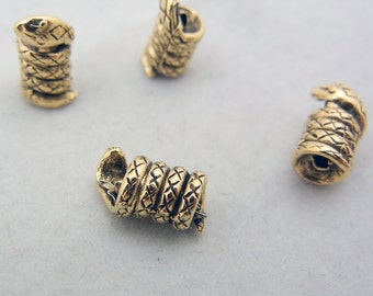 4 Antique Gold-tone Pewter Coiled Snake Beads