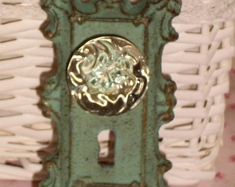 Vintage Inspired Cast Iron Aqua Door Plate with Glass Knob Coat Hanger or Curtain Tie Back