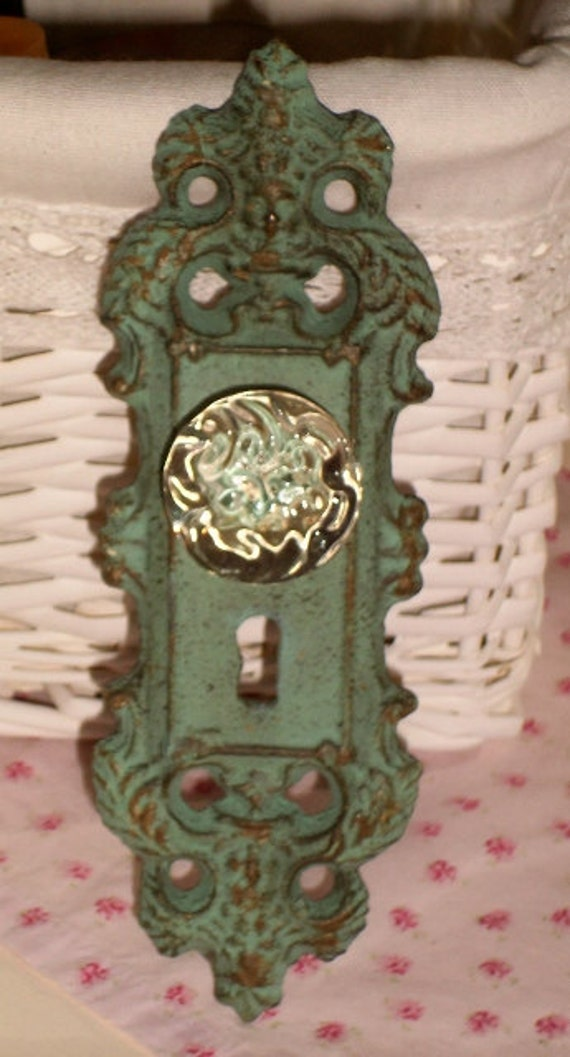 Vintage Inspired Cast Iron Aqua Door Plate With Glass Knob