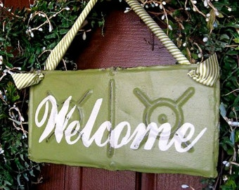 Lime Green Welcome Sign made with Antique Ceiling Tin Tile