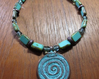 Turquoise Glass Necklace, Green Patina Spiral Pendant, Czech Glass Beads, Meditative by SusanHeleneDesigns
