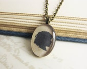 Antique Style Custom Silhouette Necklace - Personalized Oval Portrait Pendant 18x25 - Brass finish with antique brass chain