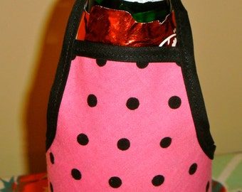 Pink and Black Polkadot Bottle Apron from The Farmer's Daughter