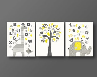 Baby boy nursery decor ABC nursery art elephant nursery Giraffe nursery alphabet nursery tree Yellow gray nursery set of 3 prints J'Apprends