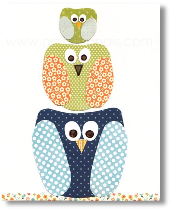 Baby Boy Nursery Decor Art Kids Art Kids Room By Galerieanais: Owl Nursery Baby Decor Blue Navy Green Orange By GalerieAnais