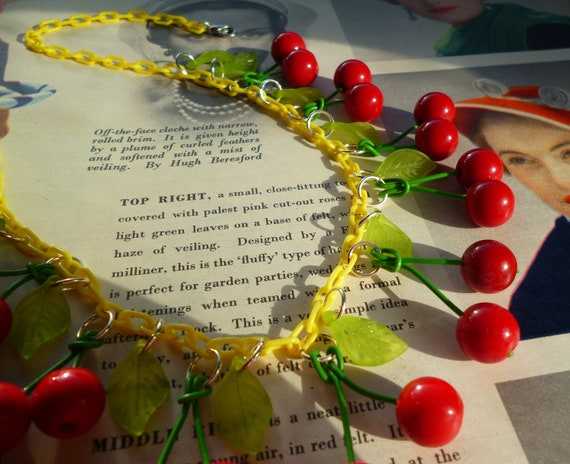 Beautiful tutti fruitti cherry necklace handmade with vintage beads and chain