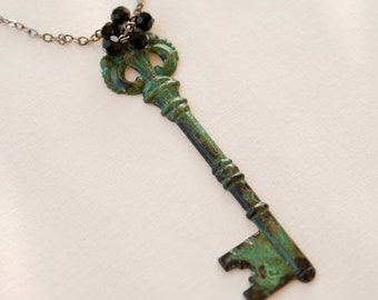 Fancy Patina Skeleton Key Pendant Long Necklace with Black Crystals