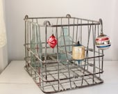 vintage 1940s wire milk crate. Metal dairy crate. Rustic organization. Rural industrial storage.  Silver, red. Mid century home decor.