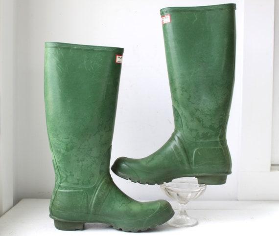 Vintage 1960s Green Wellies Women Size 10 Hunter Uniroyal