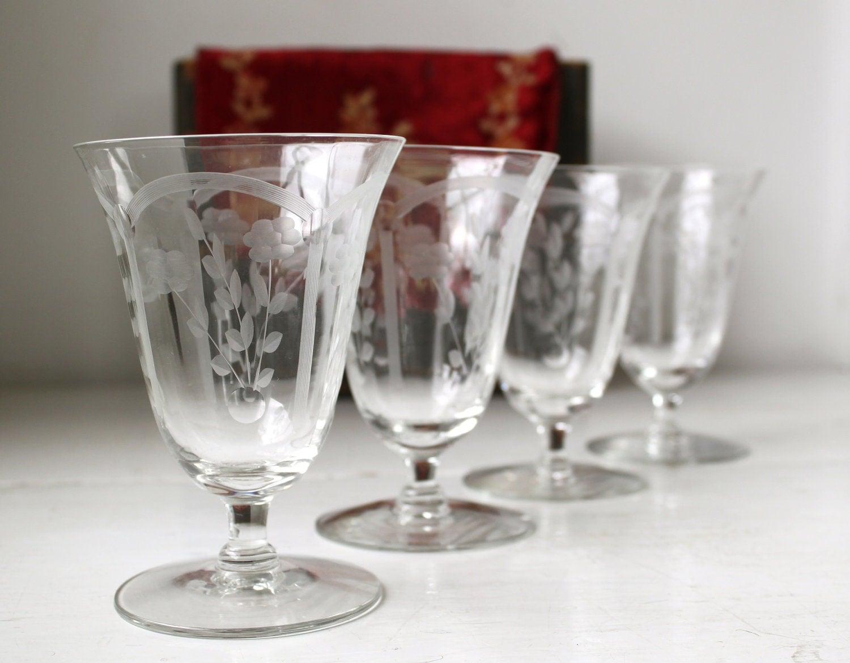 Sale Vintage Etched Glasses Set Of 4 1930s Floral Crystal