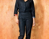 "JUMPSUIT Linen ""Dacoity Aviator lady"", Navy color SALE 50% OFF"