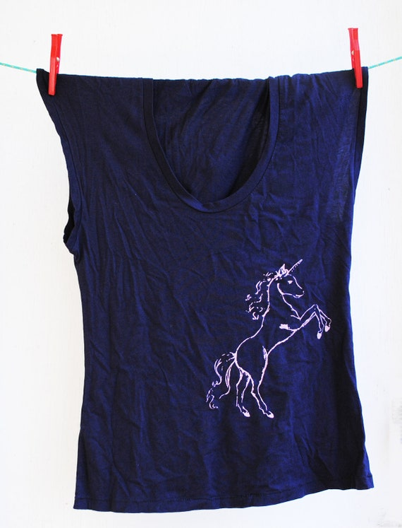 Unicorn - Womens Tank - Sleeveless Midnight Blue Shirt -  Screen printed in Pink  Ink - Size Small - SALE