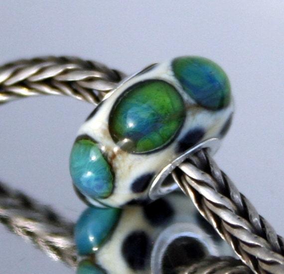 Handmade Glass European Lampwork bead fits Pandora and Troll, Charm beads, Donna Trull, LEteam,  Caribbean Waters