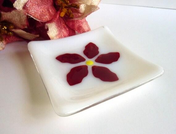 Square Glass Soap Dish with Poinsettia Decor