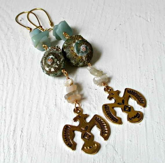 Seashell & Stone Thunderbird Earrings
