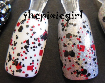 BLACK WIDOW Black Red Glitter Handmade Indie Top Coat Nail Polish Lacquer in Suspension Base