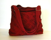 Sale - Deep Red Hemp/Cotton Messenger Bag, unique, diaper, tote, everyday bag, stylish, purse,  - Rebecca