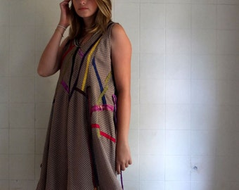 Superwide  A Line Tent Dress/ Tunic  with Multi Colored Silk Application -  Combination Fabrics - Polyester Crepe