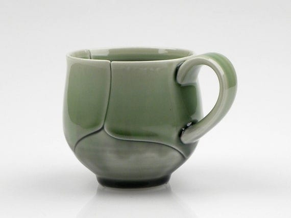 RESERVED Green Porcelain Coffee Cup Leaf Style 12 Ounce