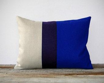 Cobalt Blue Colorblock Decorative Pillow with Navy Stripe by JillianReneDecor (12x16) - Indigo - Home Decor - Snorkel Blue