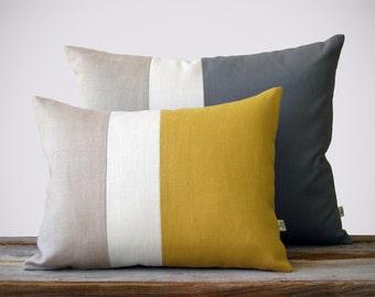 Color Block Pillow Set - (12x16) Yellow and (16x20) Gray by JillianReneDecor - Modern Home Decor - Striped Trio - Colorblock