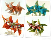 Island Luau Collection Pinwheel Cupcake Toppers Set of 12 Choose Your Pattern