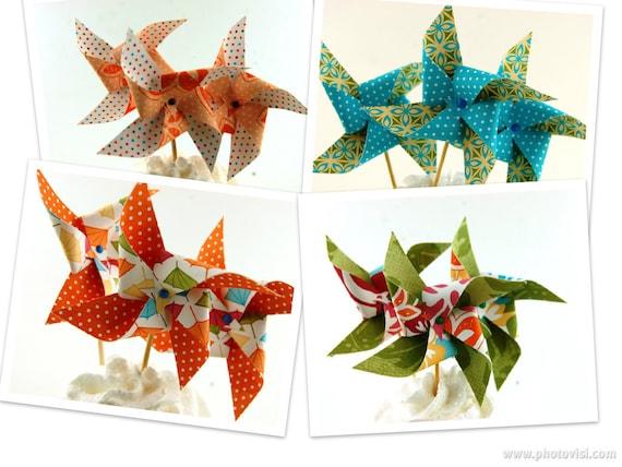 Island Luau Collection Pinwheel Cupcake Toppers Set of 12 Choose Your Pattern