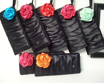 Pleated Clutch with Rose (choose colors) Monogram available- Bridesmaid gifts, bridesmaid clutches, bridal clutches wedding party